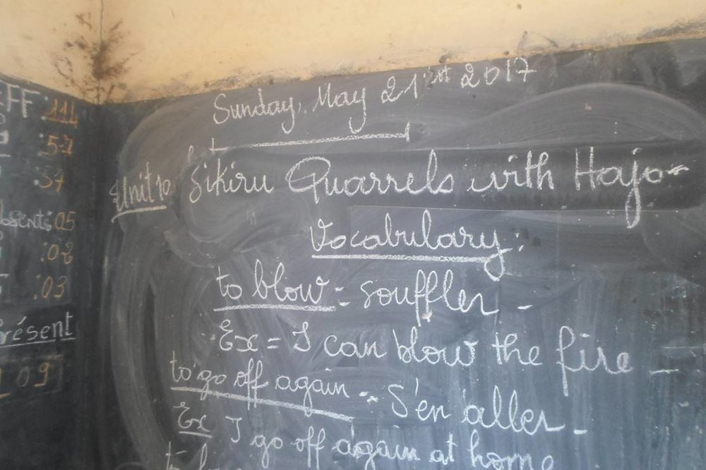 The chalkboard is the main, and often only, teaching aid in Mali classrooms.