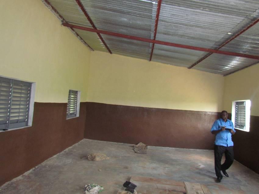 A peek inside a finished classroom.