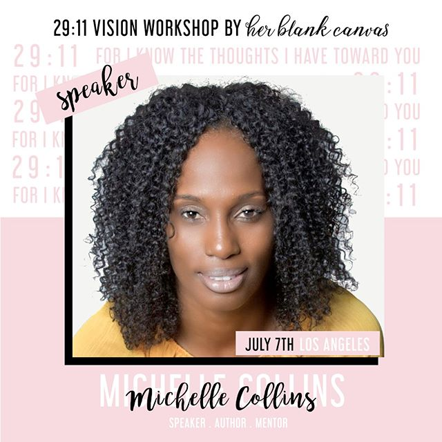 Hey gals! Meet @michelleharriscollins, a dynamic Speaker, published Author of the #SpiritCheckBook and passionate Mentor. We are so excited to have her on the panel to bring her unique perspective and experiences of inner healing and spiritual wholeness at our 29:11 Vision Conference on July 7th.  Register to attend the workshop, as spots are filling up FAST! ⠀⠀⠀⠀⠀⠀⠀⠀⠀ ⠀⠀⠀⠀⠀⠀⠀⠀⠀ #herblankcanvas  #29eleven #glorytoglory #believers #mustardseed #womenoffaith #womenofgod #proverbs31woman #hbcvisionboards #worthy #dailyaffirmations #womenwhowin #faithbased #glorifygod #glorifyhim #glorypost #waitingongod #boldness #visionboard #visionboards #dreamboard #dreamboards #promisedland #followingchrist #followinggod #godsplan #perfectpeace #shalom #spreadlove
