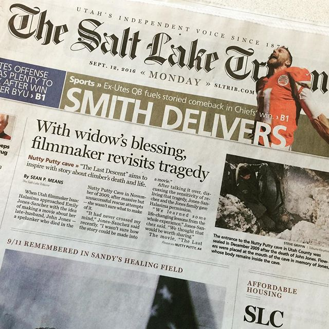 Front page in The Salt Lake Tribune today. The Last Descent hits theaters this week.