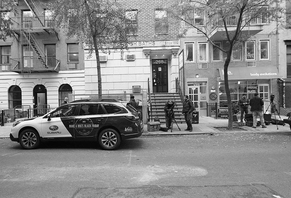 Setting up some shots as the fleet of Subaru's come into Manhattan to pick up rescue dogs.