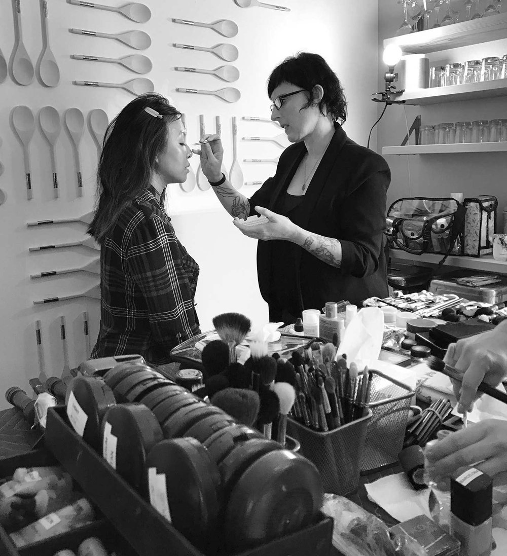 Having two very talented hair and makeup stylists on set was key to efficiency.