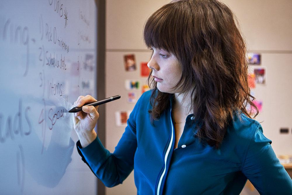 Individual work on the Microsoft Surface Hub.