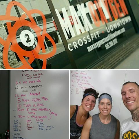 Max Oxygen, CrossFit Downtown - Des Moines, IA - Jessica, Leah and I after the 15:00 AMRAP!
