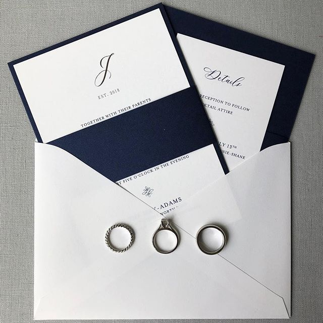 The bride and groom wanted to keep it clean and classy with this navy and white monogramed invitation suite with a touch of silver foil wrapped in a navy belly band.  Stationery: @invitationarchitects Planner: @agriffinevents Venue: @hayadamshotel Florals: @edgefloraleventdesigners Photography: @iamthesam Cake: @bttrcrmbakeshop