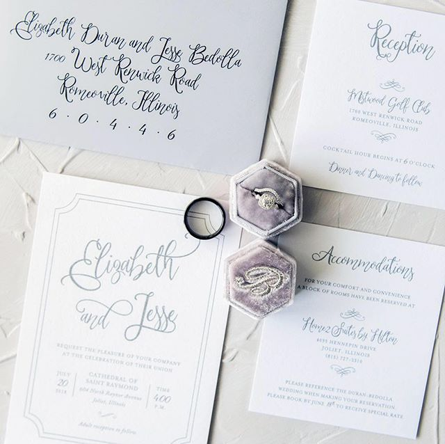 Simple and modern invitation suite we did for the sweetest bride. We absolutely love love love this beautiful calligraphy font and cool grey envelopes. 😍😍😍 📸: @joylynphoto