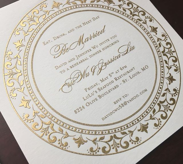 Eat, Drink and the Next Day Be Married!!! 👰🏽🤵 💒 Custom Gold Engraved Rehearsal Dinner 🍽 Invites. Yesssss please!!! 🙋🏽‍♀️ #invitationarchitects