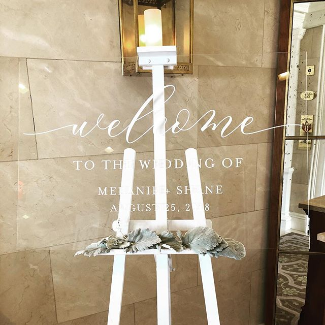 "Acrylic makes EVERYTHING better!! 24"" x 36"" Clear Acrylic Welcome Sign is a must have at your wedding or event! 😍😍😍 Swipe left —"