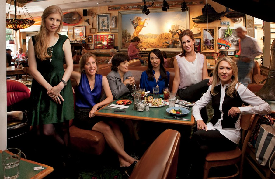 Laura Arrillaga-Andreessen (founder, Silicon Valley Social Venture Fund), Susan Wojcicki (senior vice president, Google), Kara Swisher (co–executive editor, D: All Things Digital), Clara Shih (co-founder and C.E.O., Hearsay Social), Alison Pincus (co-founder, One Kings Lane), and Juliet de Baubigny (partner, Kleiner Perkins Caufield & Byers), photographed at Buck's of Woodside, in Woodside, California.