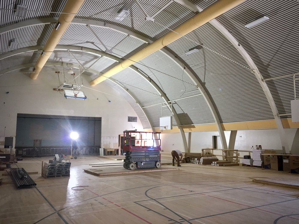 A picture of the auditorium gym under renovation.