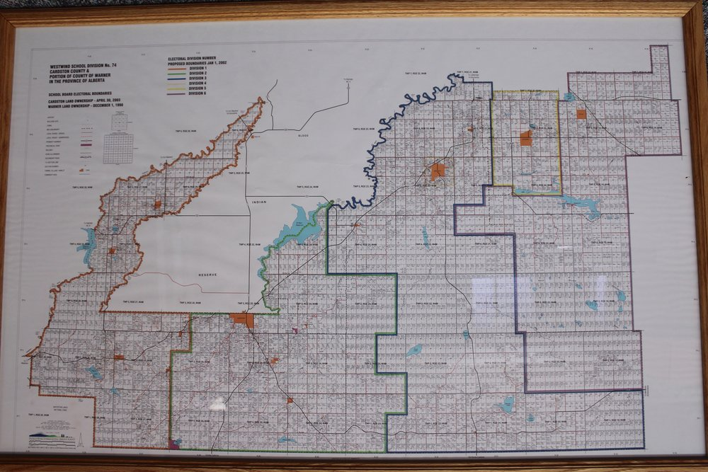 The map of the Electoral Wards for Westwind School Division