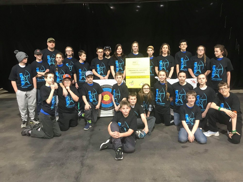 Cardston Junior High School Archery Team with Coach Candace Atwood