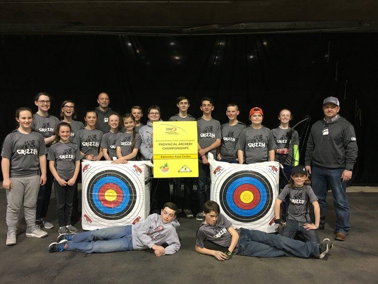 Mountain View School Archery Team with Coach Curtis Leishman and Coach Matt Bevans