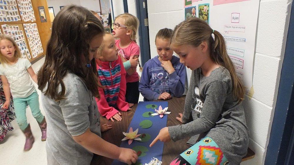 Kindergarten students solving a math story