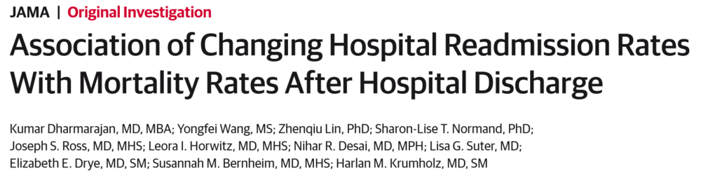 Association of Changing Hospital Readmission Rates With Mortality Rates After Hospital Discharge