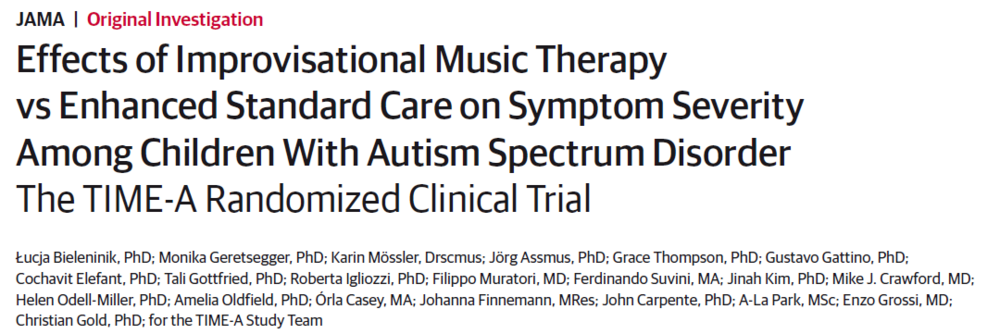 Effects of Improvisational Music Therapy vs. Enhanced Standard Care on Symptom Severity Among Children With Autism Spectrum Disorder: The TIME-A Randomized Clinical Trial