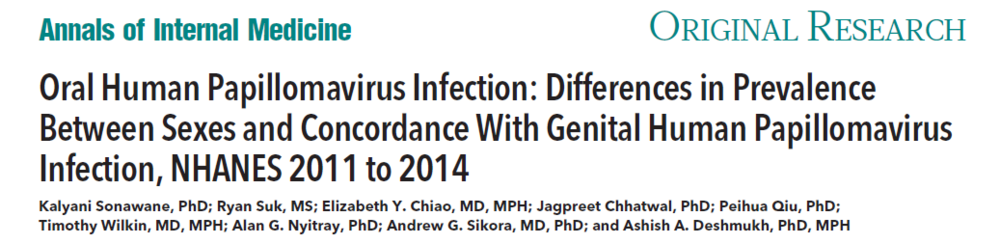 Oral Human Papillomavirus Infection: Differences in Prevalence Between Sexes and Concordance With Genital Human Papillomavirus Infection, NHANES 2011 to 2014