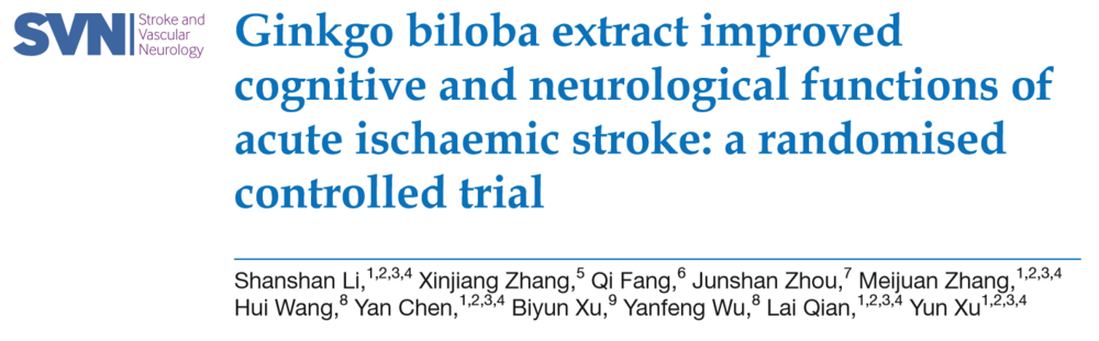 Gingko biloba improved cognitive and neurological functions of acute ischaemic stroke: a randomised controlled trial