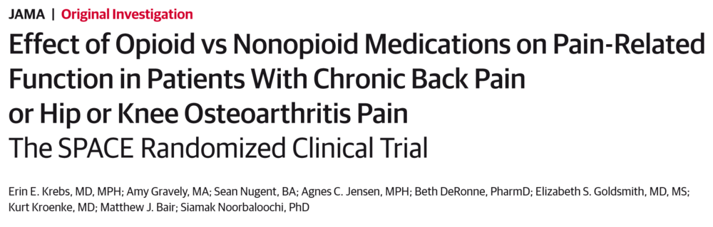 Effect of Opioid vs. Nonopioid medications on Pain-Related Function in Patients with Chronic Back Pain or Hip or Knee Osteoarthritis Pain: The SPACE Randomized Clinical Trial