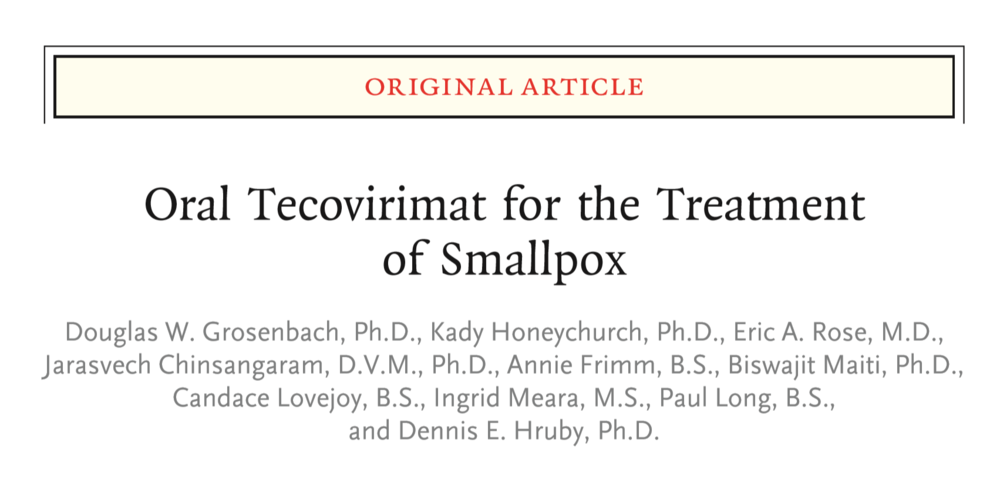 Oral Tecovirimat for the Treatment of Smallpox