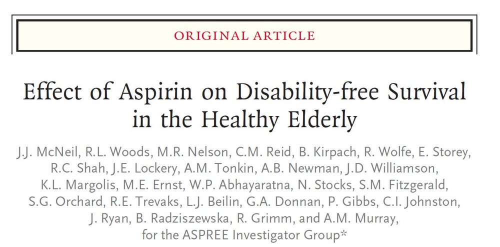 Effect of Aspirin on Disability-free Survival in the Healthy Elderly