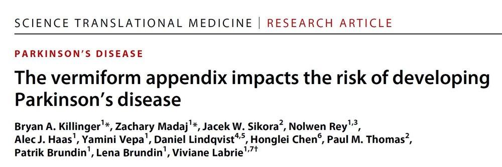 The vermiform appendix impacts the risk of developing Parkinson's disease