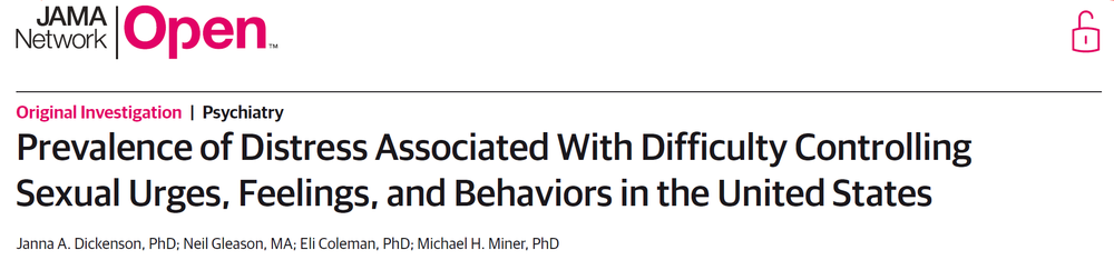 Prevalence of Distress Associated With Difficulty Controlling Sexual Urges, Feelings, and Behaviors in the United States