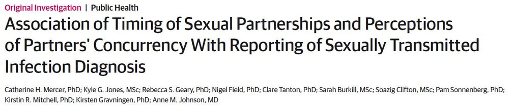 Association of Timing of Sexual Partnerships and Perceptions of Partners' Concurrency With Reporting of Sexually Transmitted Infection Diagnosis