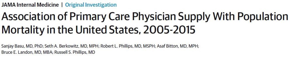 Association of Primary Care Physician Supply With Population Mortality in the United States, 2005-2015
