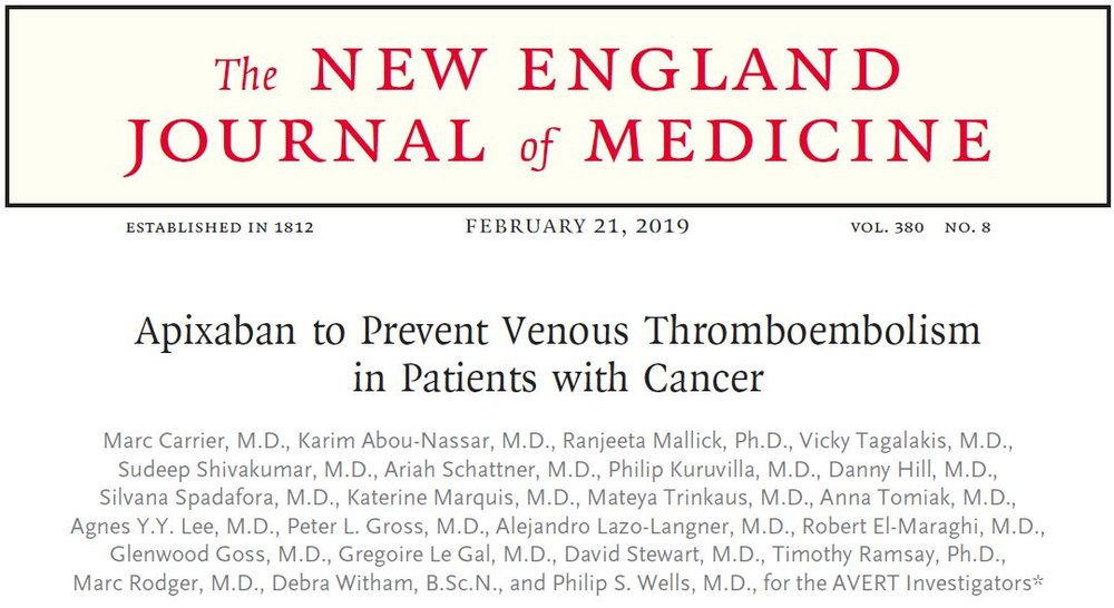 Apixaban to Precent Venous Thromboembolism in Patients with Cancer