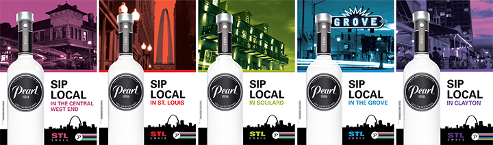Full Pearl Vodka POS poster lineup for neighborhood-specific advertising campaign in St. Louis.