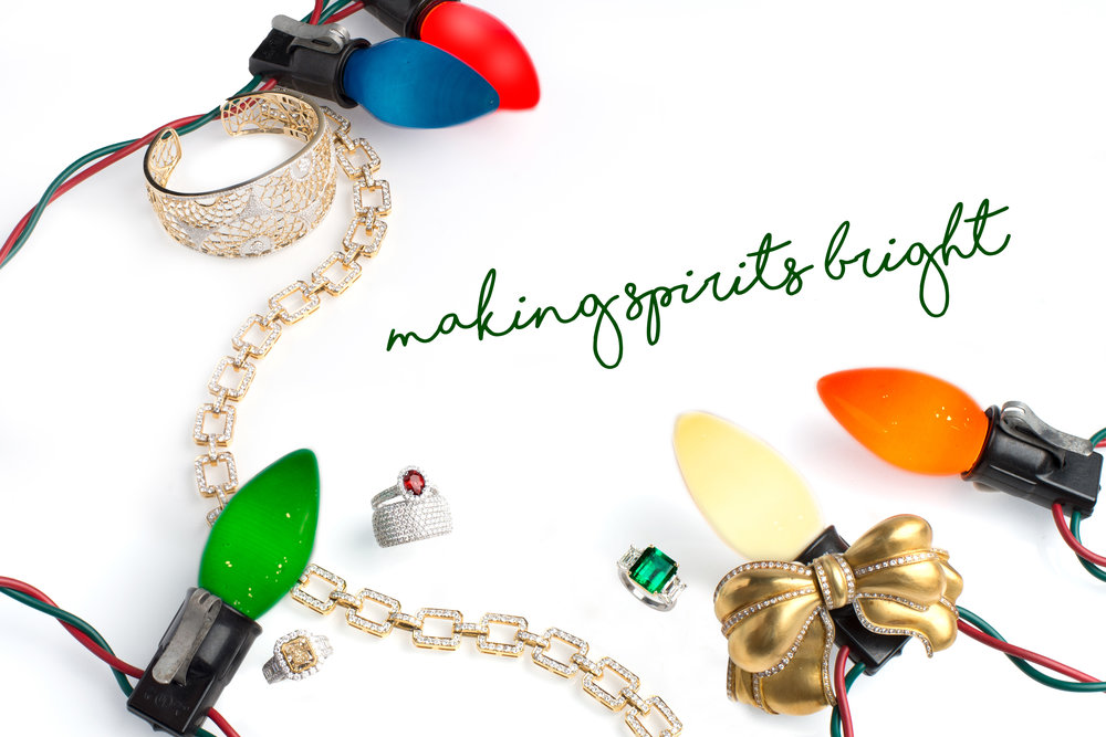 "Huffords Jewelry's holiday theme, ""Making Spirits Bright""."