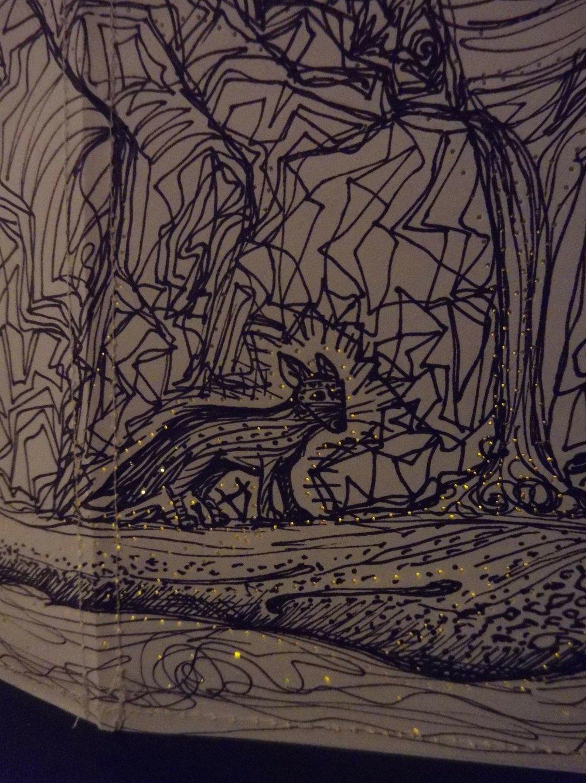 Detail:  Landscape/Lantern 2016  - pen & ink, cardstock