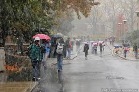 Creative Commons Attribution 2.0 Generic · Photograph of the Penn State college campus in the rain