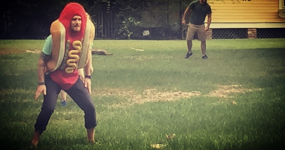 David Meigs in a hotdog suit, playing kickball.  spring 2016