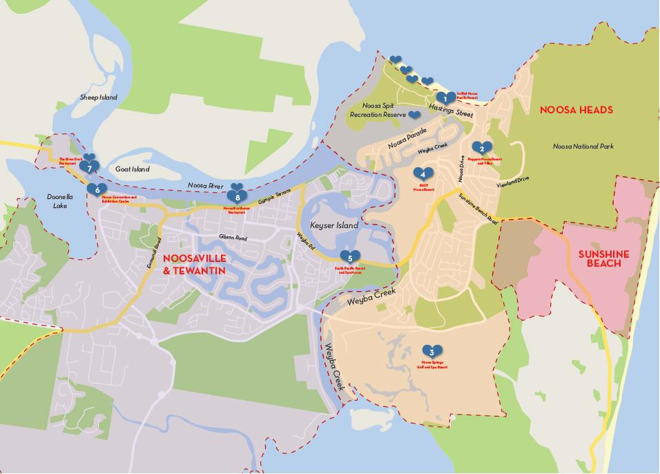 Noosa Wedding Trail Location Map