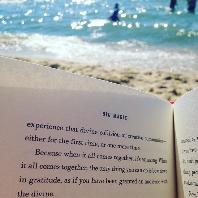 Big Magic (the book) + the big magic of a restorative afternoon at the beach. 😍😍😍😍 I am a mermaid at heart. • • • #bigmagic #creativelife #artlife #creativity #restorative #love #beauty #loveyourself #treatyourself #getaway #puremichigan #lakemichigan #saugatuck #bookworm #booknerd #bookstagram #amreading #beachday #mermaid #makewaves #afternoon #lovely #beautifullight #waterchild #gypsy #willworkfortravel #wanderlust #photographer
