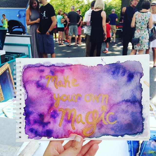 Make your own magic.  Hanging out all evening in this gorgeous summer weather at the grand opening celebration for @thejunkyardgoddess! Yard sale style art sale + networking with lovely people + working on some more inspirational pieces for the Creative Life Planner. Life is good. • • • #artlife #creatives #makeyourownmagic #magic #empowered #inspiring #inspired #inspire #artist #handlettered #watercolor #goldleaf #ink #magic #painting #creativeentrepreneur #grateful #lucky #beautifullight #sundayevening #glorious #indyartist #indianapolis #broadripple #sobro #broadrippleartists #junkyardgoddess #party #supportlocal #shopsmall