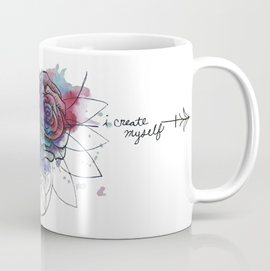 watercolor rose dreamcatcher bad wolf artwork mug