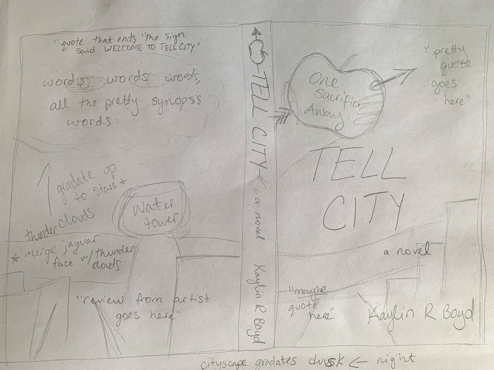 The most recent sketch of the  Tell City  cover spread.