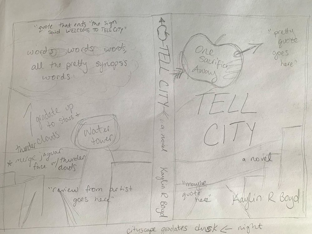 The most recent sketch of the full  Tell City  cover spread.