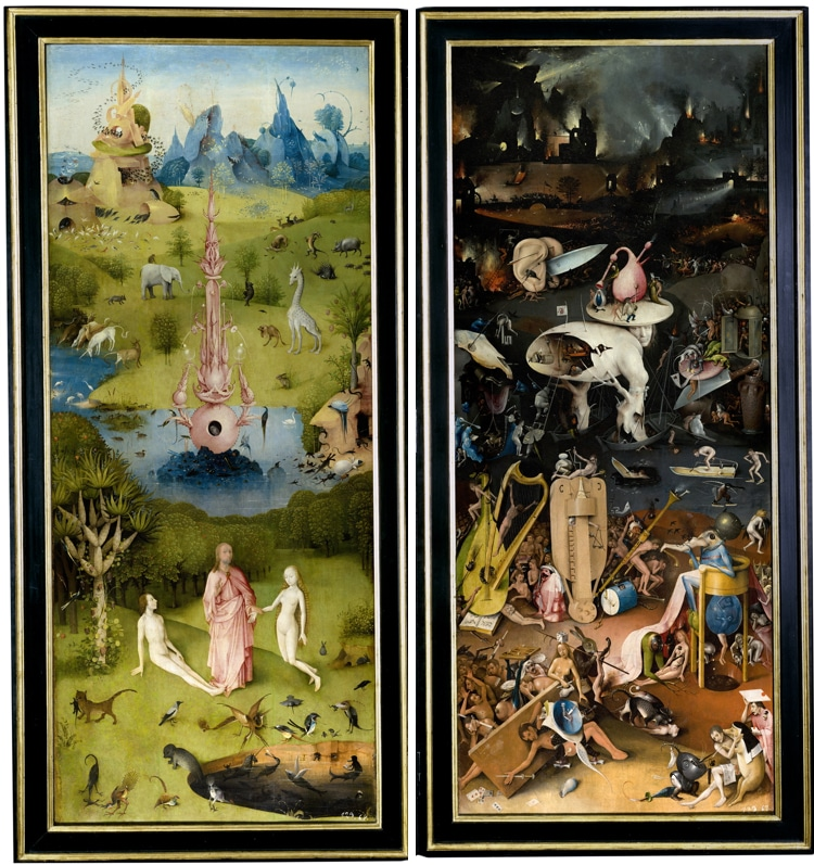 "Left and right panels of ""The Garden of Earthly Delights"""