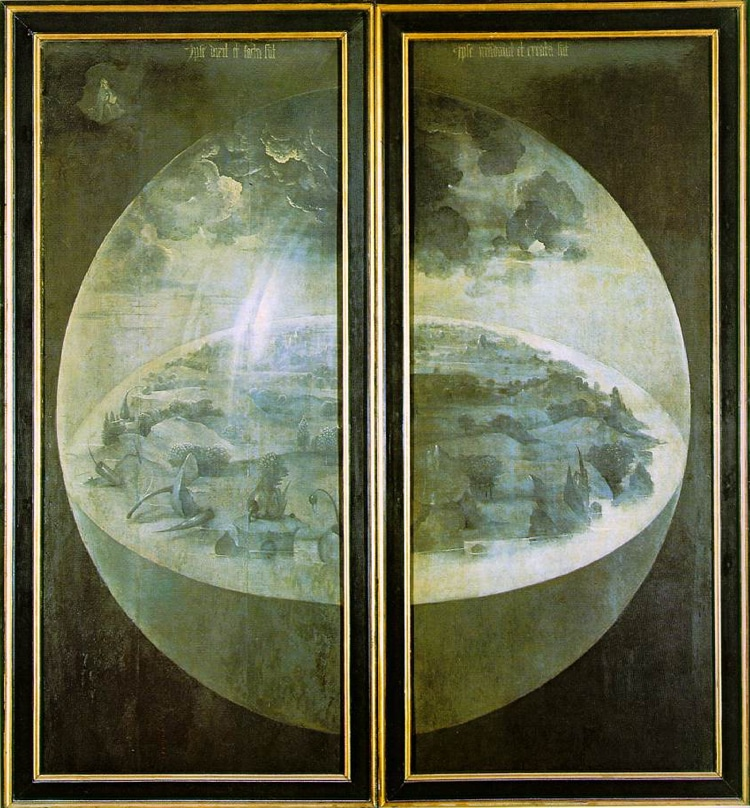 Painting on the two outer panels that appears when closed.