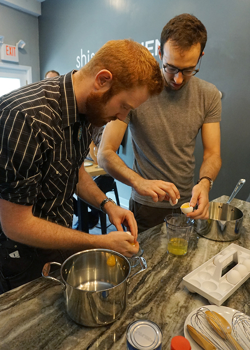 Nick and Chris having never separated egg yolks before compete in a test of speed and agility.