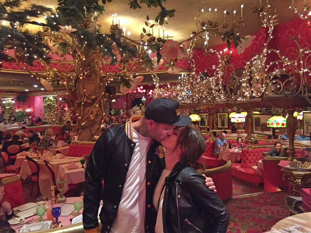 Jay and I on our honeymoon at the Madonna Inn, during our road trip across California (2015)