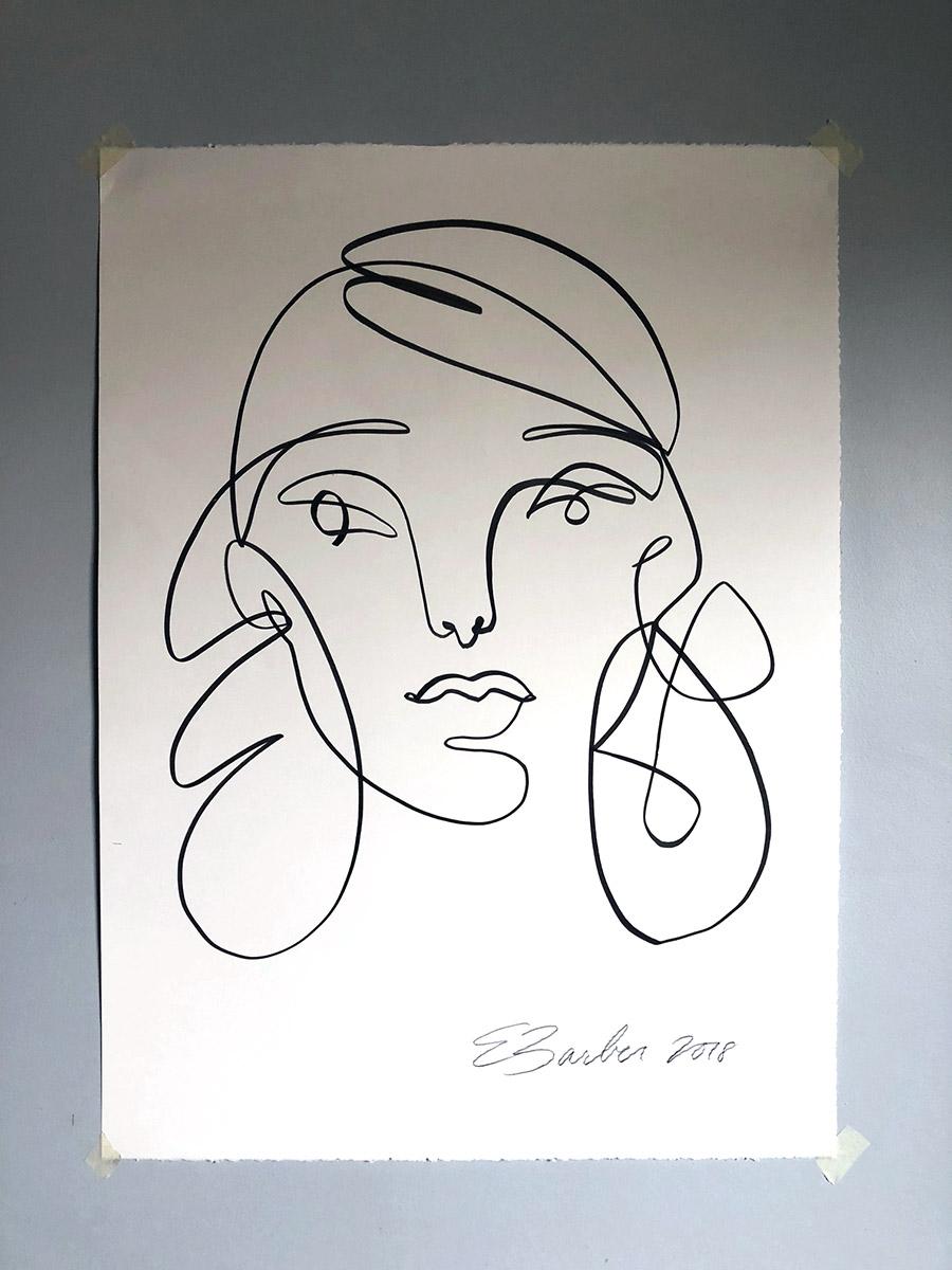 Girl #832 / Black Ink on Bright White / 22 x 30