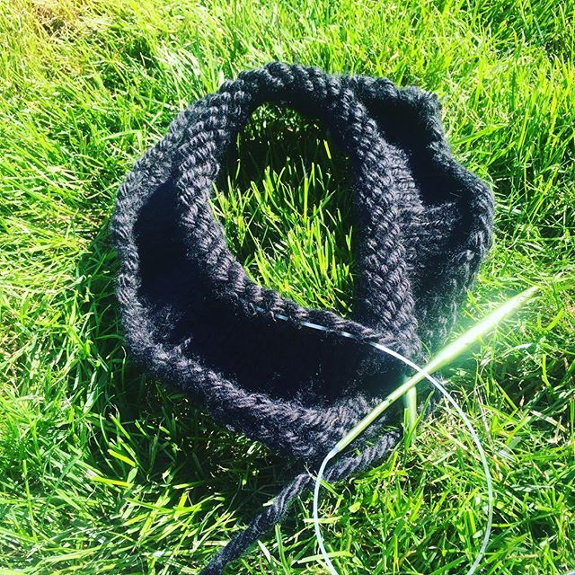Test knitting the witch hat pattern in the beautiful September sunshine.