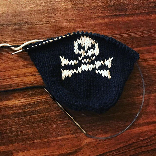 Skull coozy sample in progress. Knit on my lightening fast Addi Clicks. Looking forward to showing it at tomorrow's knit social.