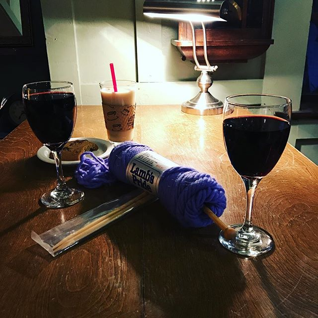 Relax, have a glass of wine and knit something