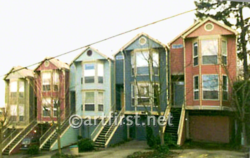 Charming multi-color row houses